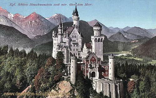 Königliches Schloss Neuschwanstein, 1008 m über dem Meer
