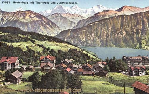 Beatenberg mit Thunersee und Jungfraugruppe