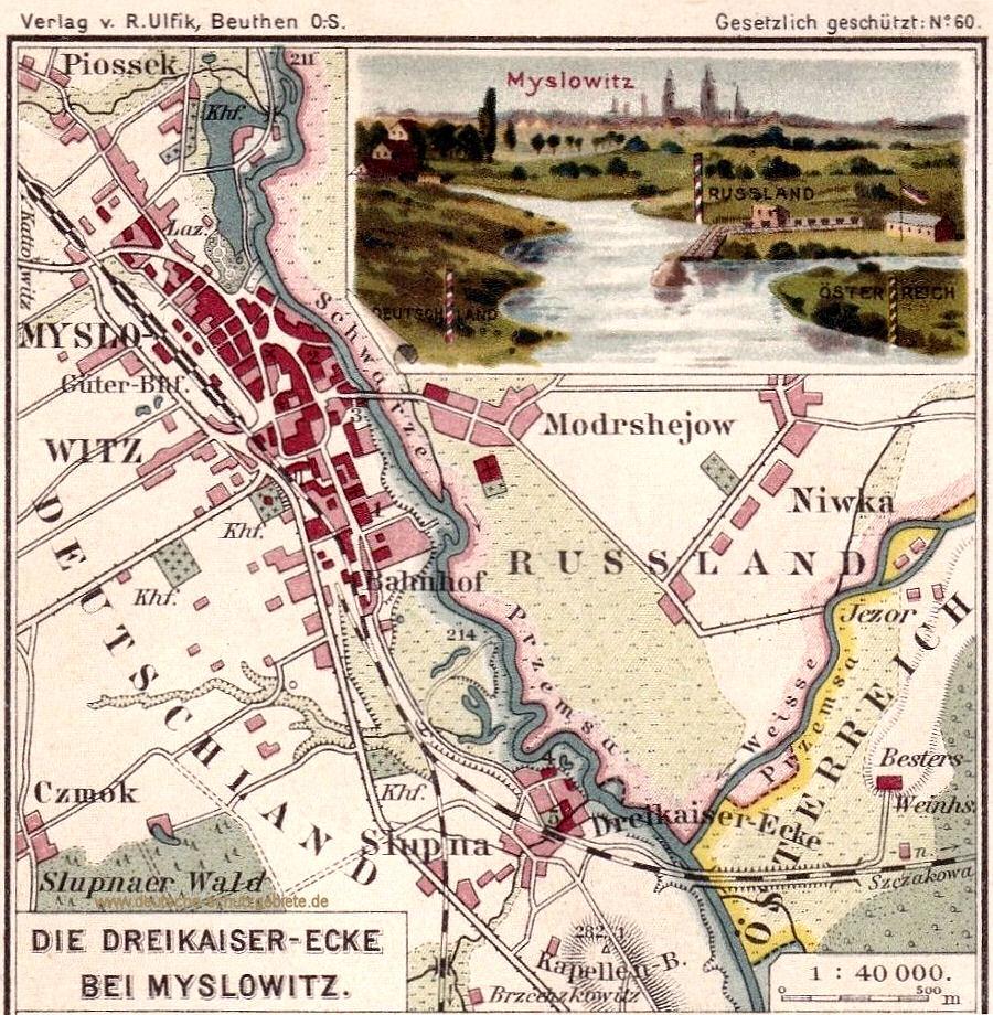 Die Dreikaiser-Ecke bei Myslowitz