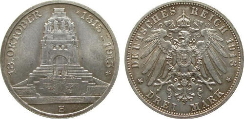 Völkerschlachtdenkmal 1913, Deutsches Reich 3 Mark