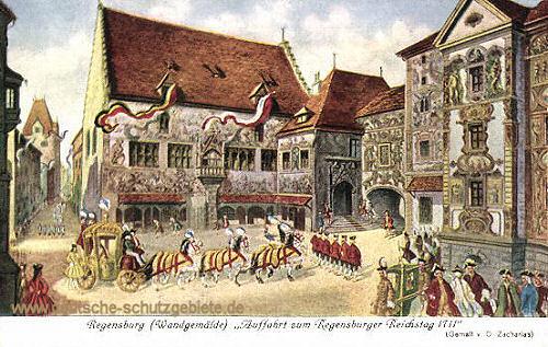 Regensburg, Auffahrt zum Regensburger Reichstag 1711