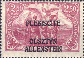 Allenstein, Plebiscite 1920, Briefmarke Deutsches Reich 2,50 Mark