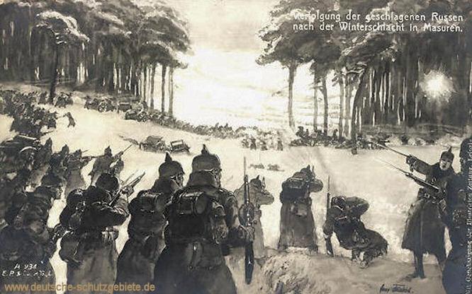 Verfolgung der geschlagenen Russen nach der Winterschlacht in Masuren