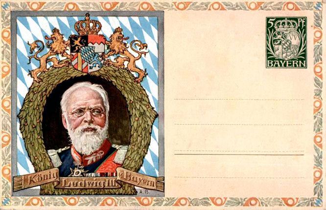 Bayern Postkarte, König Ludwig III.