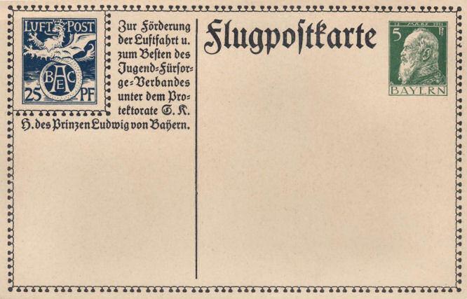 Flugpostkarte; Zur Förderung der Luftfahrt und zum Besten des Jugend-Fürsorge-Verbandes unter dem Protektorate Seiner Königlichen Hoheit des Prinzen Ludwig von Bayern.