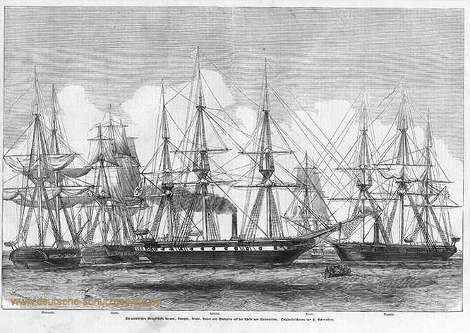 Die preußischen Kriegsschiffe Arcona, Nymphe, Niobe und Rover