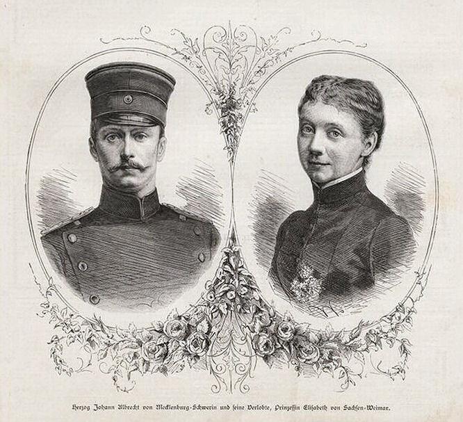 Herzog Johann Albrecht von Mecklenburg-Schwerin und seine Verlobte, Prinzessin Elisabeth von Sachsen-Weimar-Eisenach