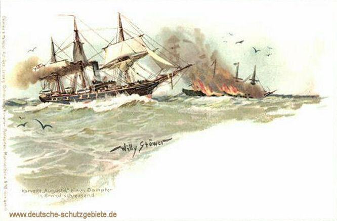 Korvette Augusta einen Dampfer in Brand schießend