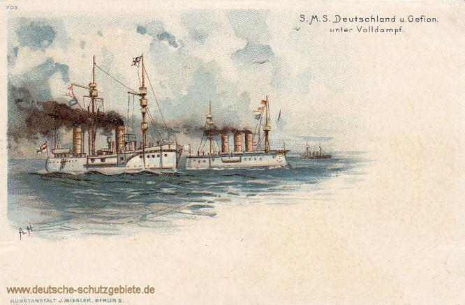 S.M.S. Deutschland und Gefion unter Volldampf