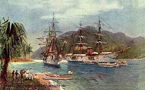 S.M.S. Elisabeth und S.M.S Hyäne in der Bucht von Friedrich-Wilhelms-Hafen auf Neu-Guinea