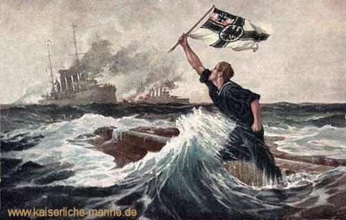 """""""Der letzte Mann"""" Gemälde von Prof. Bohrdt auf einer zeitgenössischen Postkarte Das Gemälde selber gilt seit 1916 als verschollen."""