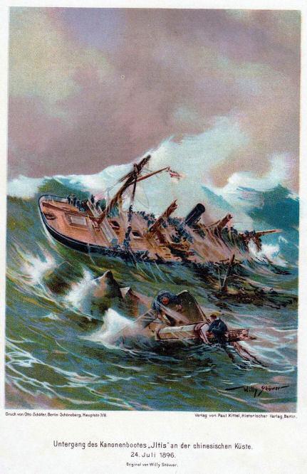 """Untergang des Kanonenbootes """"Iltis"""" an der chinesischen Küste 24. Juli 1896."""