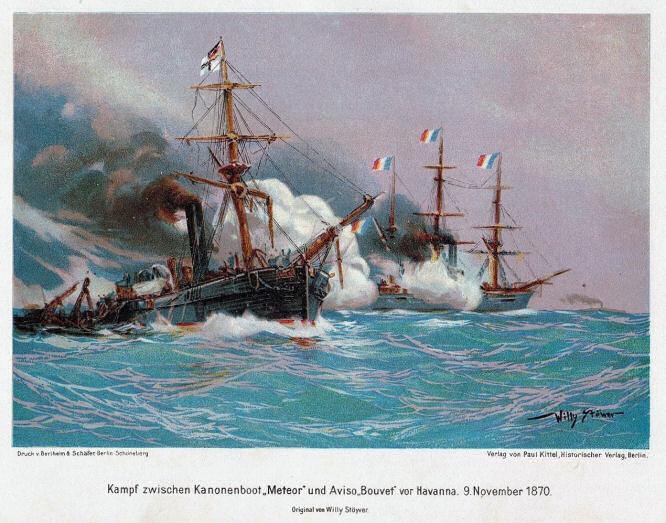 Kampf zwischen Kanonenboot Meteor und Aviso Bouvet vor Havanna 9. November 1870.