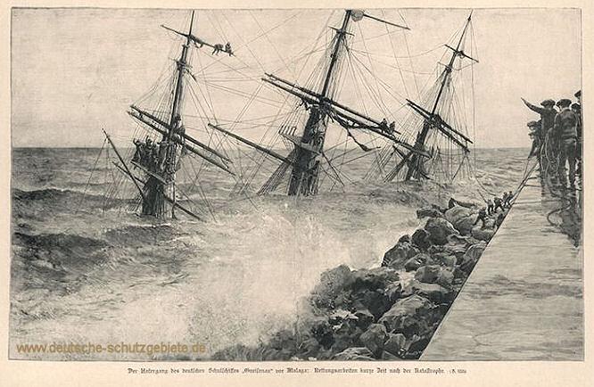 Der Untergang des deutschen Schulschiffes Gneisenau vor Malaga. Rettungsarbeiten kurze Zeit nach der Katastrophe.