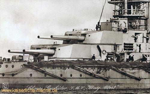 S.M.S. König Albert, Schwere Geschütze