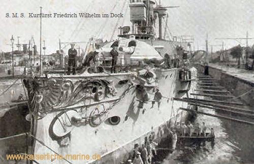 S.M.S. Kurfürst Friedrich Wilhelm im Dock, 1895
