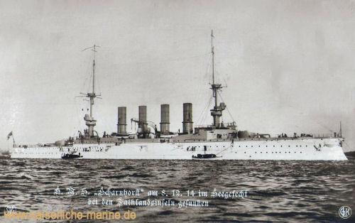 S.M.S. Scharnhorst am 8. Dezember 1914 im Seegefecht bei den Falklandinseln gesunken