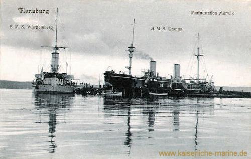 Flensburg, S.M.S. Württemberg und S.M.S. Uranus