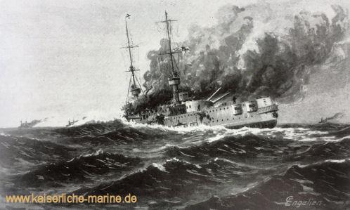 """""""Scharnhorst im Endkampf"""" Postkarte nach einem Gemälde von Carl Engelien"""