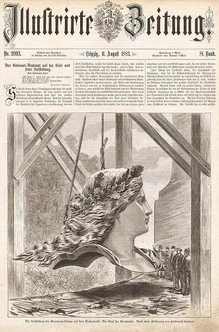 Illustrierte Zeitung 11. August 1883: Die Aufstellung der Germania-Statue auf dem Niederwald: Der Kopf der Germania.
