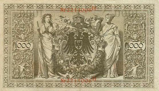 Reichsbanknote 1000 Mark 21.04.1910 Rückseite