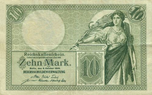 Reichskassenschein 10 Mark 06.09.1906 Vorderseite