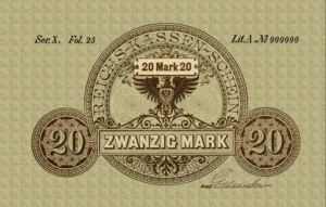 Reichskassenschein 20 Mark 11.07.1874 Vorderseite