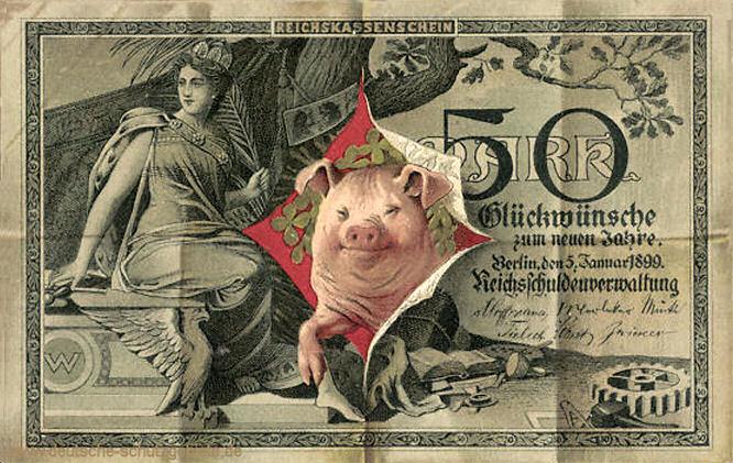 Reichskassenschein 50 Mark, Postkarte