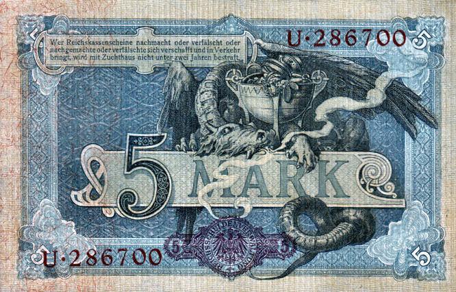 Reichskassenschein 5 Mark 31.09.1904 Rückseite