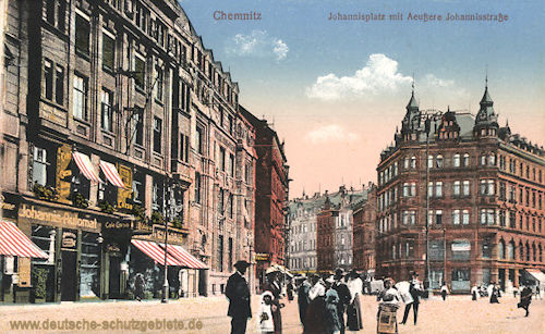 Chemnitz, Johannisplatz mit Äußere Johannisstraße