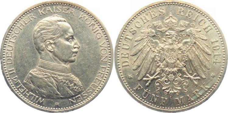 Deutsches Reich 5 Mark 1914 (Preußen)