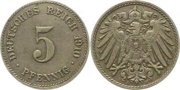 Deutsches Reich 5 Pfennig 1910