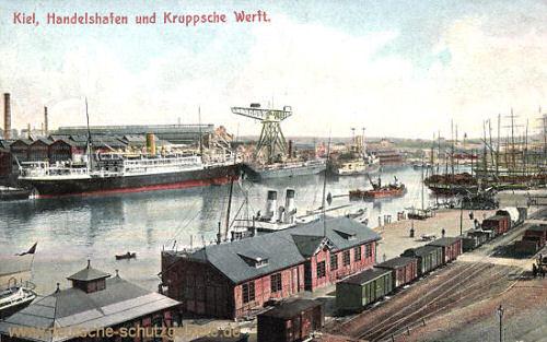 Kiel, Handelshafen und Kruppsche Werft