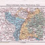 Landkarte Elsass-Lothringen, Baden, Württemberg, Pfalz