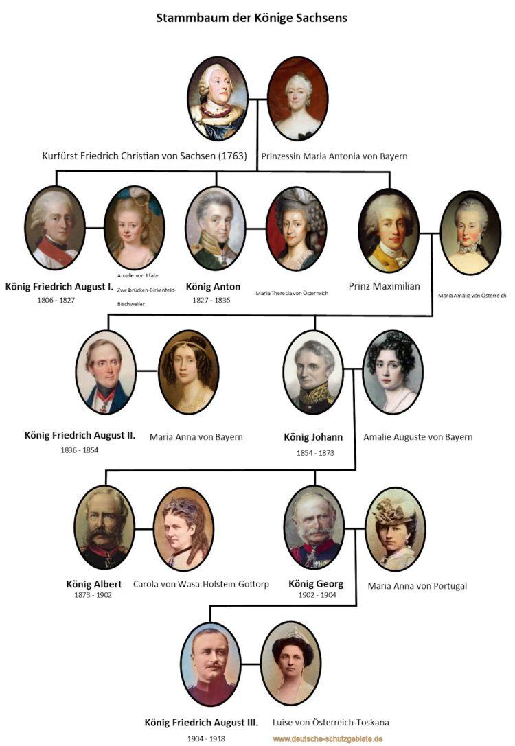 Stammbaum der Könige Sachsens