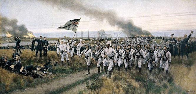 """""""The Germans to The Front"""" nach einem Gemälde von Carl Röchling"""