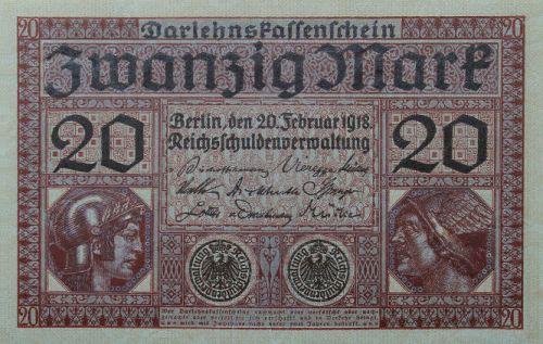 Darlehenskassenschein 20 Mark 20.02.1918 Vorderseite