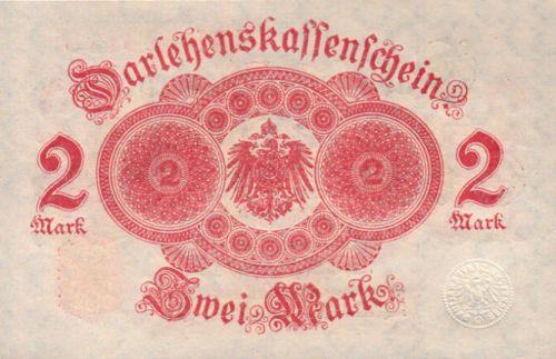 Darlehenskassenschein 2 Mark 12.08.1914 Rückseite