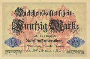 Darlehenskassenschein 50 Mark 05.08.1914 Vorderseite