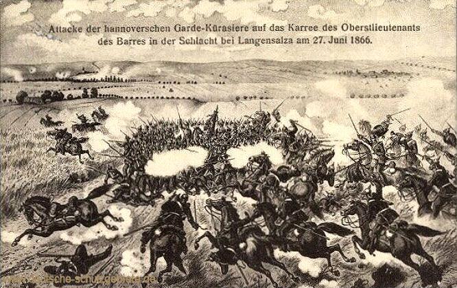 Attacke der hannoverschen Garde-Kürasiere auf das Karree des Oberstleutnants des Barres in der Schlacht bei Langensalza am 27. Juni 1866.