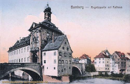 Bamberg, Regnitzpartie mit Rathaus
