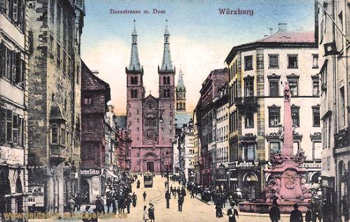 Würzburg, Domstraße und Dom