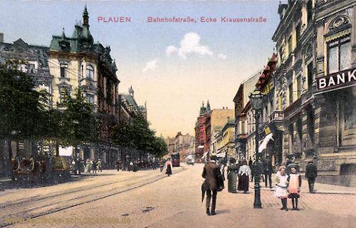 Plauen i. V., Bahnhofstraße Ecke Krausenstraße
