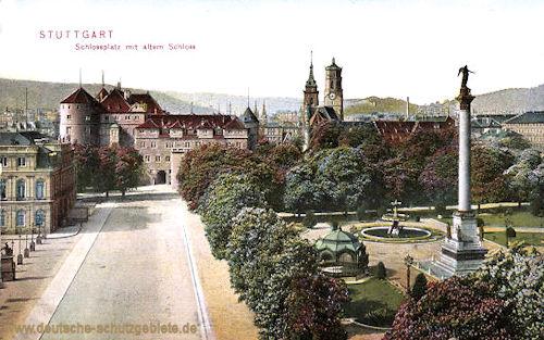 Stuttgart, Schlossplatz mit altem Schloss