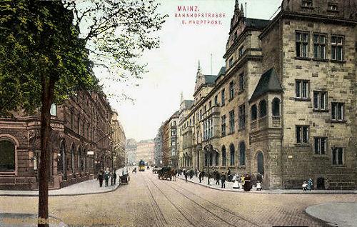Mainz, Bahnhofstraße und Hauptpost