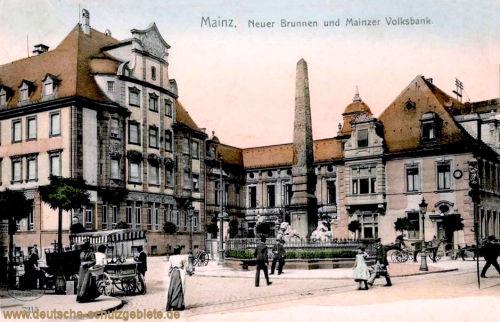 Mainz, Neuer Brunnen und Mainzer Volksbank