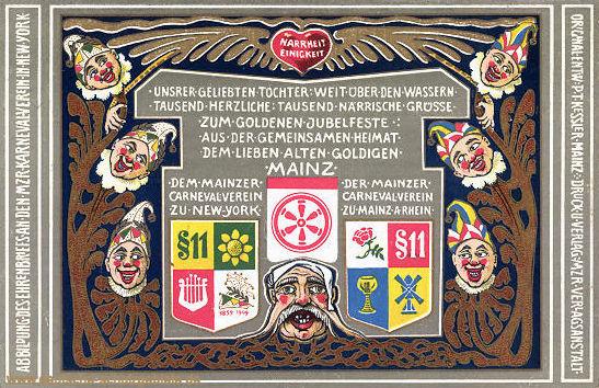 Mainz, Offizielle Fest-Postkarte des Mainzer Karneval-Vereins 1910