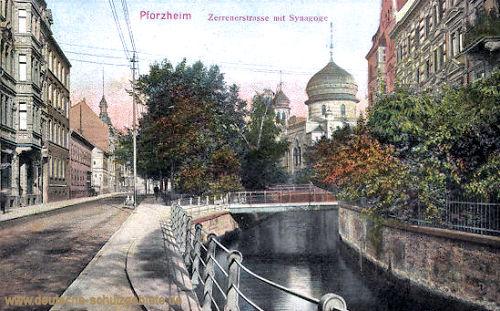 Pforzheim, Zerrenerstraße mit Synagoge