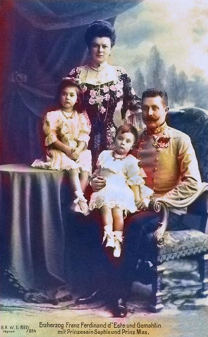 Erzherzog Franz Ferdinand d'Este und Gemahlin mit Prinzessin Sophie und Prinz Max