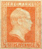 Briefmarke halber Silbergroschen/6 Pfennige Preußen 1859, König Friedrich Wilhelm IV.